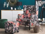 Sessel Polsterbezug schwarz Blumenmuster plus