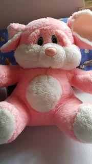 rosa Schmuse-Bär Kuschel-Hase sitzend ca