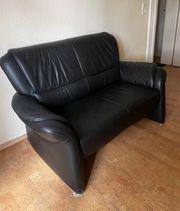 2-Sitzer Ledercouch schwarz
