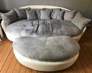 Megasofa Couch Hocker grau weiß -