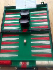 Backgammon Spiel im Kunstleder Koffer