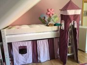 Prinzessinnen-Kinderhochbett weiss dan natura