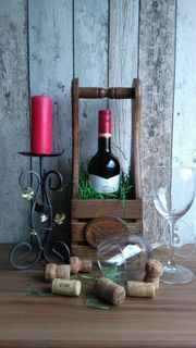 Holzkiste für Weinflasche