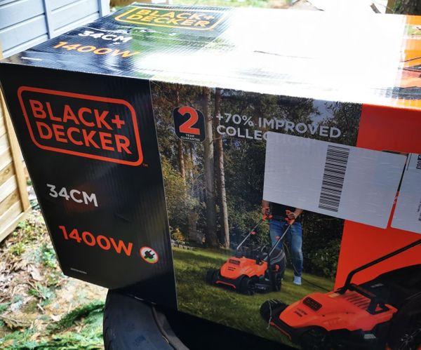 Black+ Decker Elektro-Rasenmäher NEU BEMW461BH 1400W 34 cm Schnitt 6-fach Höhenverstellung, 40l Grasf