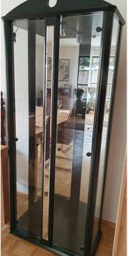 VERSCHENKEN - Schwarze Glasvitrine mit Spiegel