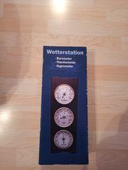 Originalverpackte Wetterstation aus Echtholz für
