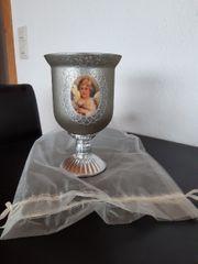 Kelch Kerzenständer silber mit Engelmotiv