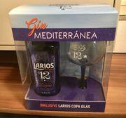 Flasche Gin mit Glas Larios