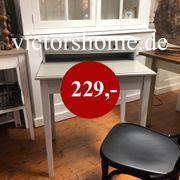 Schreibtisch Sekretär Massivholz zweifarbig graut