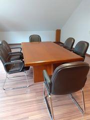 Konferenz Esstisch mit 6 Ledersesseln