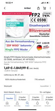 FFP2 Apotheker Masken Dekra geprüft
