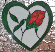 Fensterbild Handarbeit aus Tiffanyglas Herz