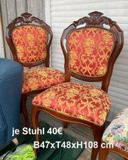 2x Esszimmerstuhl Stuhl Barock Antik-Optik