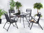 Gartenmöbel Set Stahl schwarz 4-Sitzer
