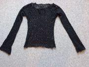 Shirt Langarm Lochmuster schwarz ca