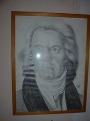 Wandbild Beethoven s w handgezeichnet