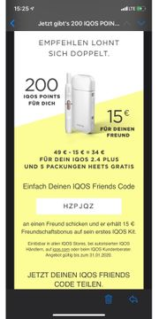15 Euro Gutschein für Iqos