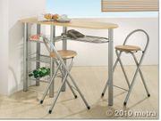 Küchenbar mit 2 Stühlen Holz