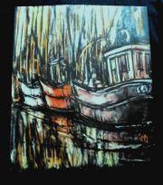 3 alte Gemälde Radierung Maritim
