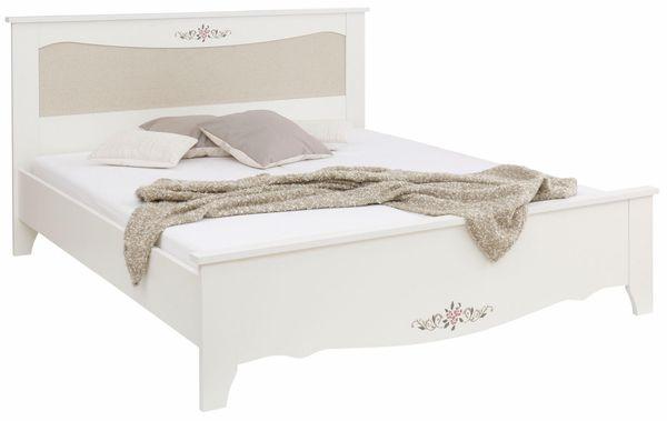 Neu Bett 180x200 Weiß Mit Stoffeinsatz Betgestell Doppelbett In