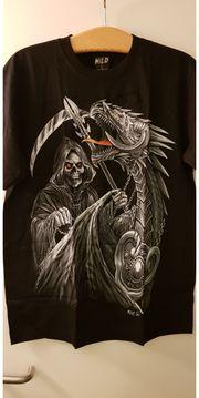 T-Shirt Totenkopf Drachen beidseitig bedruckt