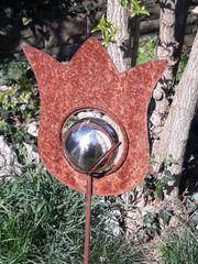 Metalldekoration Tulpe mit silberner Kugel