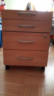 Schreibtisch Rollcontainer buche