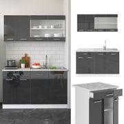 Küchenzeile R-Line 140cm Weiß Anthrazit