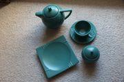 grünes Teesrvice für 6 Personen