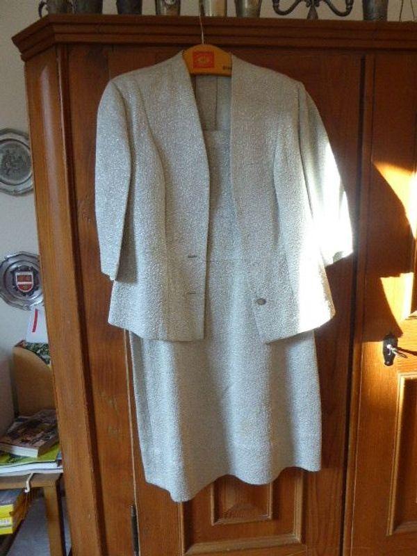 Kostüm Kleid Silberbrokat genäht 50er