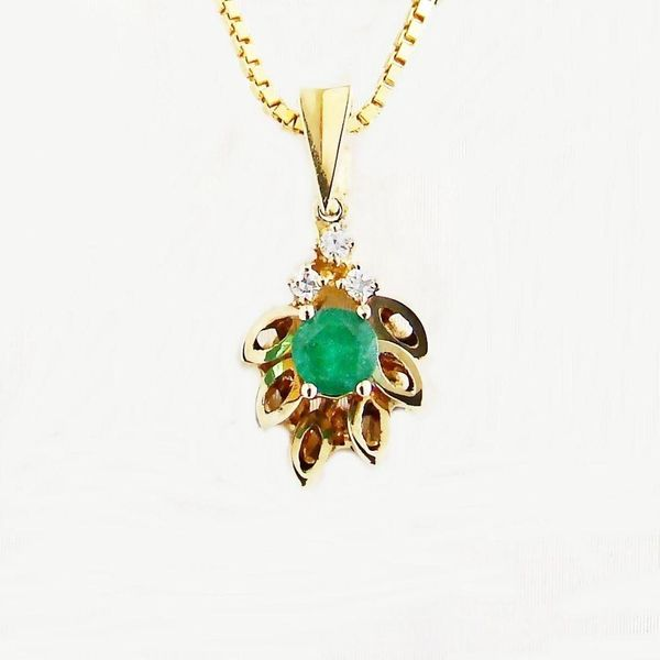 Anhänger Gold 585er Smaragd Diamanten