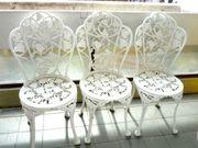 Terassenstühle Gartenstühle Gusseisen weiss 3