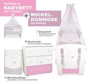 Babybett Wickelkommode- Herzen Rosa NEU