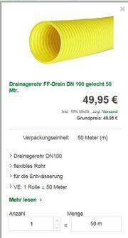 Hausisolierer-Angebot Drainrohr 34 lm günstig