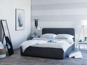 Polsterbett dunkelgrau mit Bettkasten hochklappbar