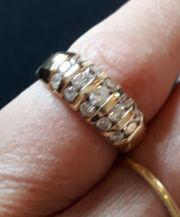 Damen gold Ring 15 Brillis