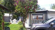 Wohnwagen Fendt mit Dauerstandzelt Camping