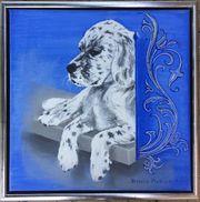Ölgemälde English Setter Welpe Hund