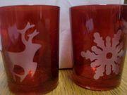 2 x Teelichtgläser Teelichthalter Weihnachten