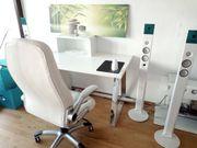 Computertisch Schreibtisch weiß glänzend schön