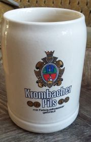 Bierkrug Krombacher Pils aus Keramik