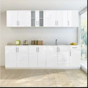 Küchenzeile mit Spülenschrank 8-tlg Hochglanz