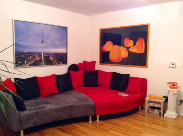 Großes Sofa Couch zweiteilig rot