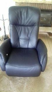 Relax TV Fernsehsessel Leder dunkelblau