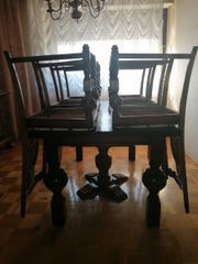 Antike Tischgruppe Tafel mit 6