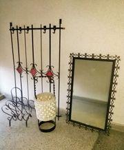 Garderoben-Set aus Schmiedeeisen mit Spiegel
