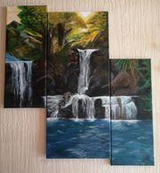 Acrylbild Handgemalt Der Wasserfall