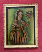 Antique Persische Malerei hinter Glas
