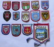 Wimpel und Wappen aus Stoff-Wappen