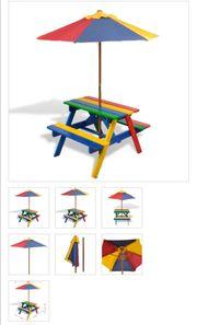 Kinder-Picknickgarnitur mit Sonnenschirm in 4